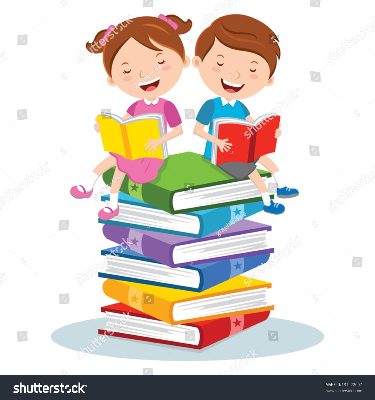 Reading Pleasure Children Sitting On Multicolor Stock Vector ...