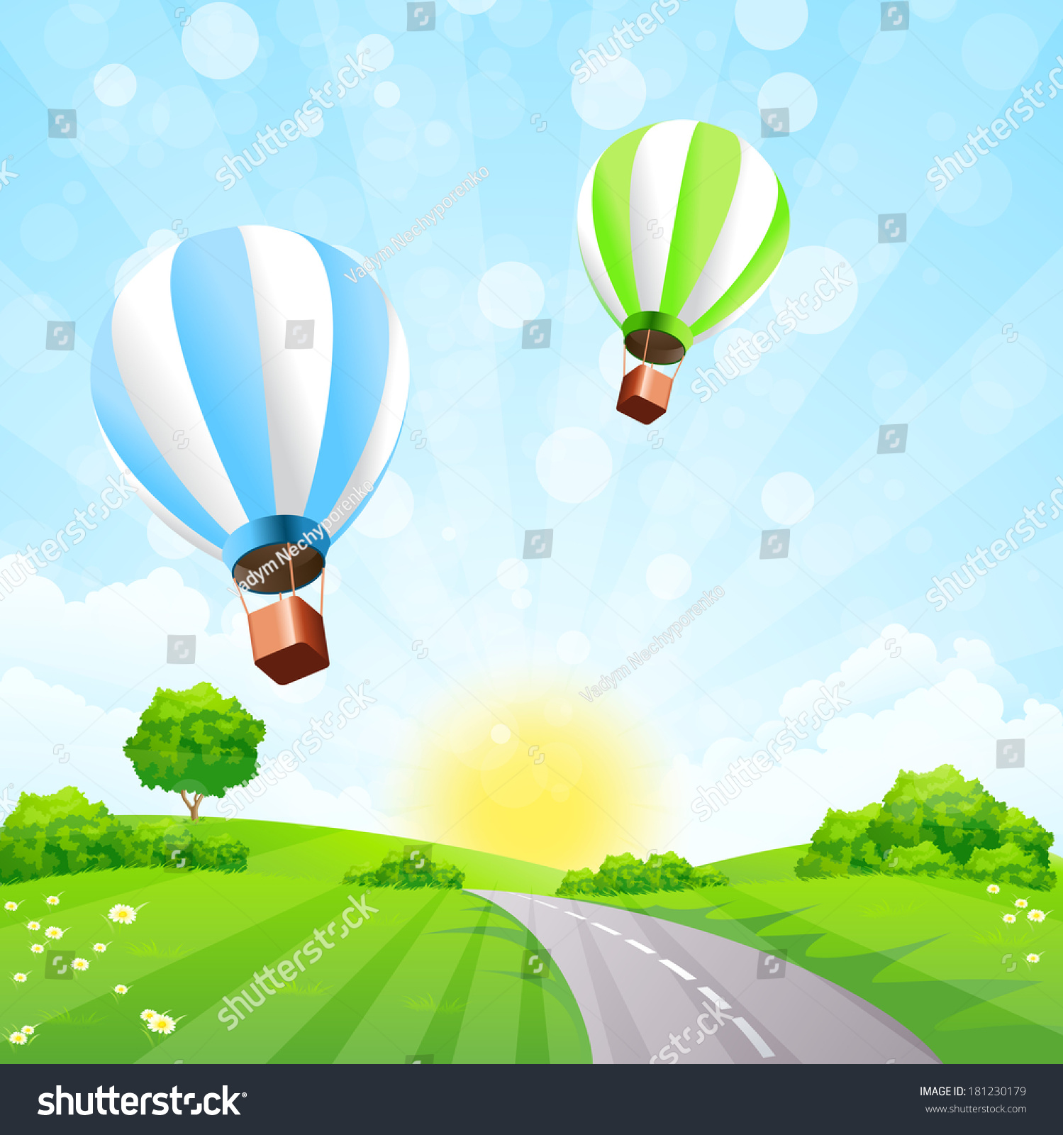 green landscape balloons clouds sun stock illustration