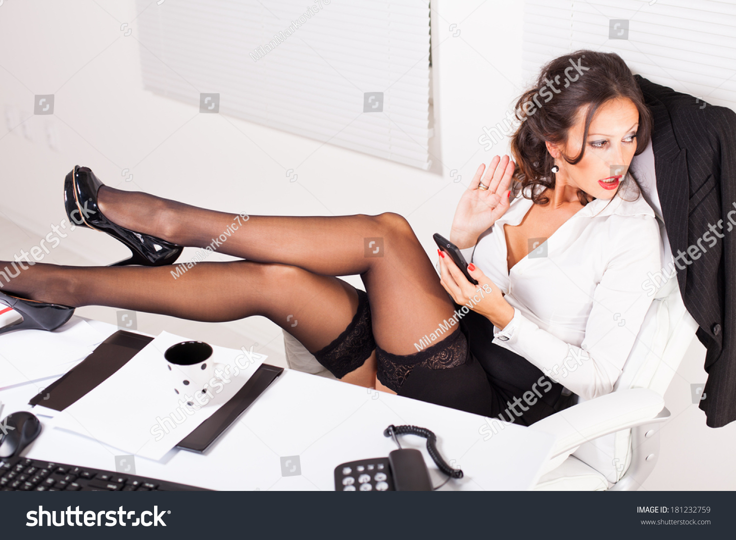 Hot Business Woman Sitting Office Legs Stock Photo 181232759