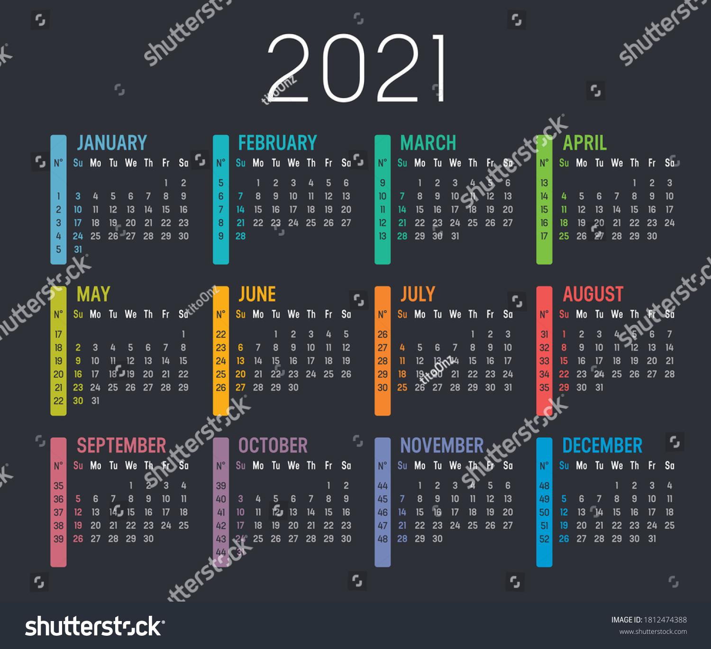 Colorful Year 20 Calendar Weeks Numbers Stock Vector Royalty ...