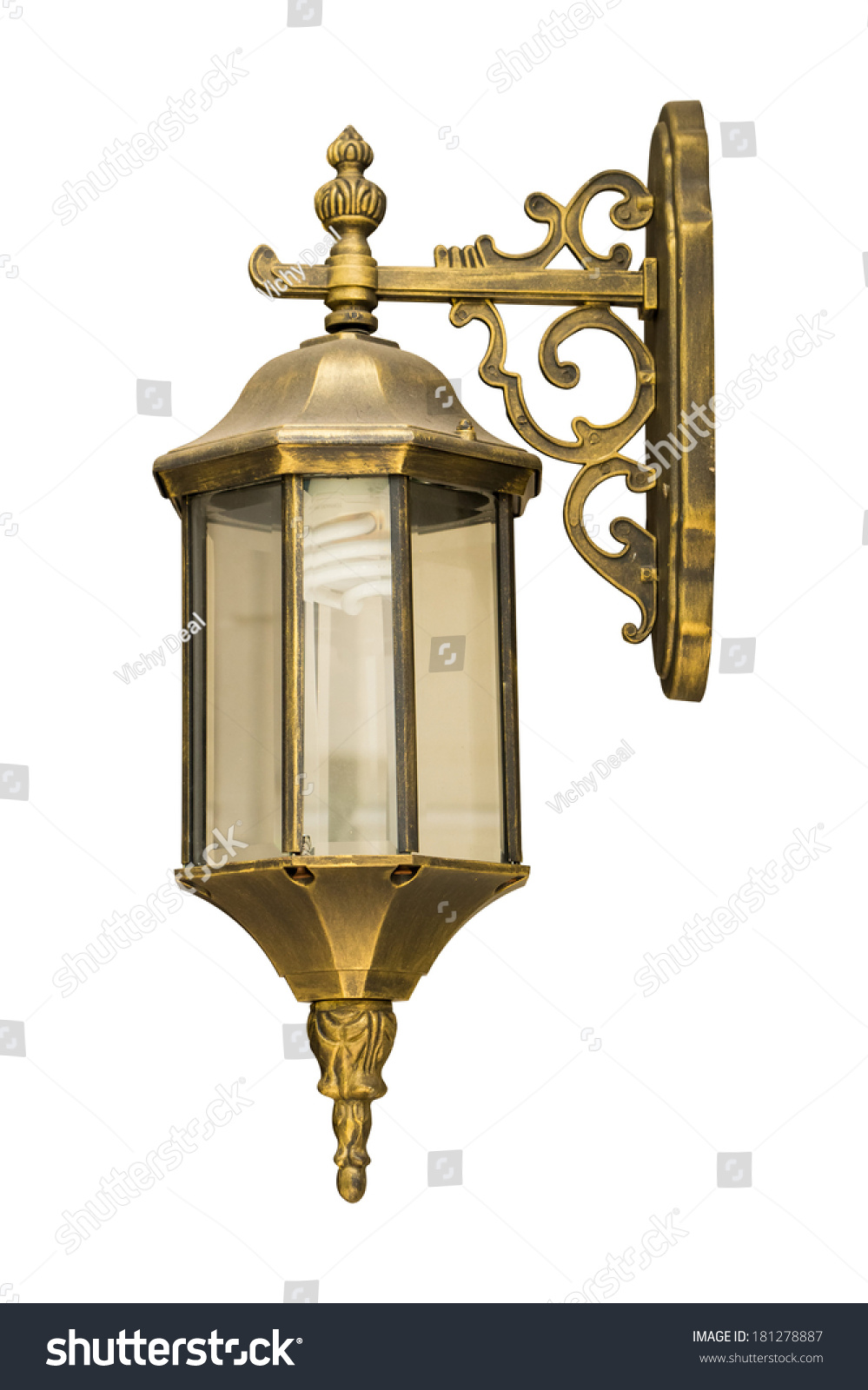 Old antique vintage lamps,isolated on white background, with clipping path