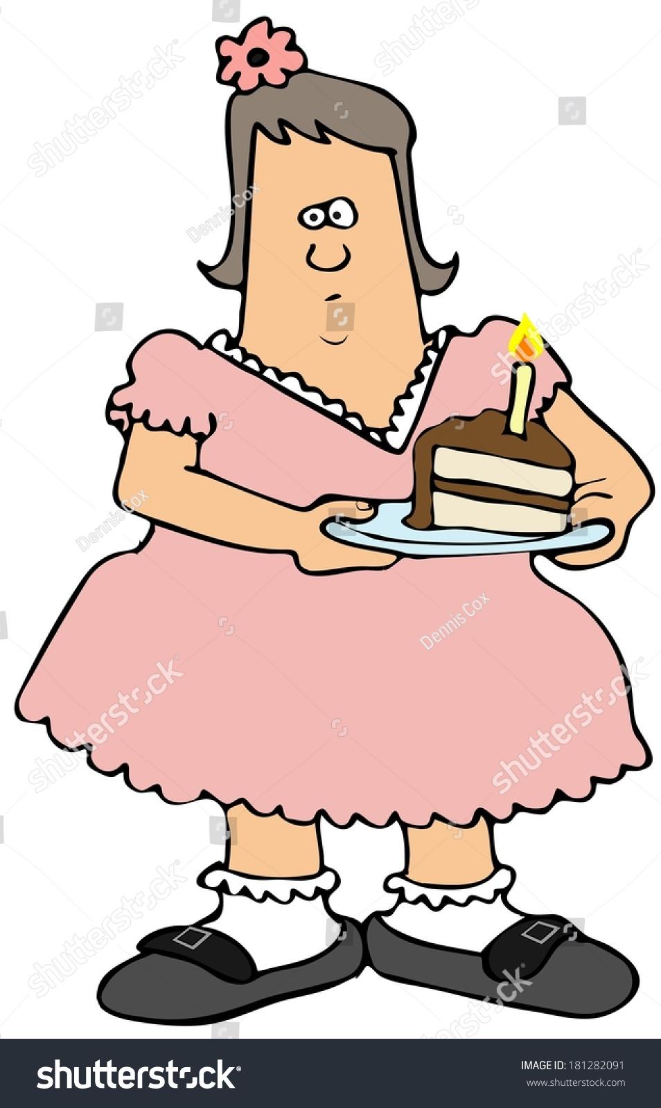 Chubby Girl Eating Birthday Cake Stock Illustration 181282091