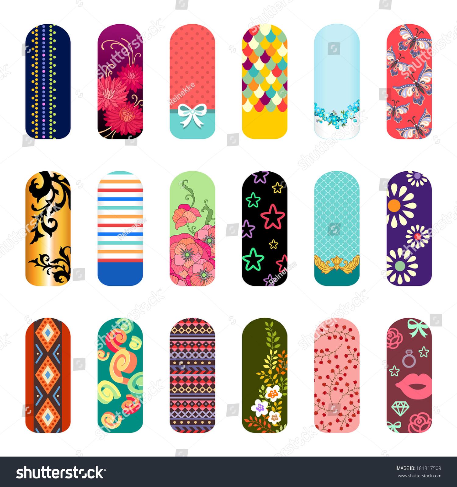 Set Fashion Nail Art Designs Beauty Stock Vector 181317509 ...