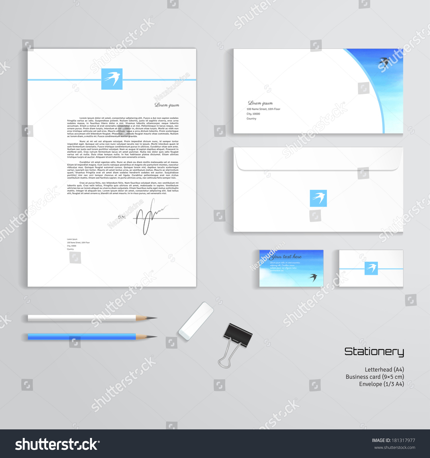 Vector templates handmade watercolor white cloud stock photo photo vector templates handmade watercolor white cloud sky and swallow letterhead envelope cheaphphosting Image collections
