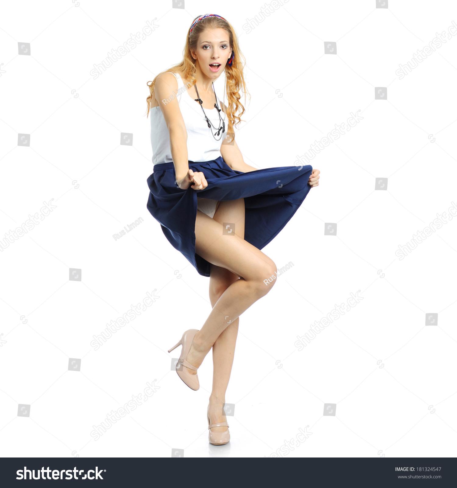 Ladies lifting their skirts