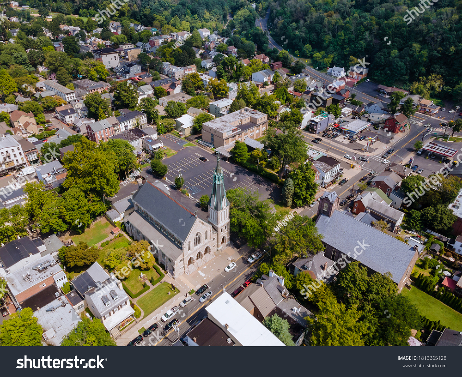 Scenic seasonal landscape from above aerial view of a small town countryside of Lambertville New Jersey USA in the historic city New Hope Pennsylvania US. #1813265128