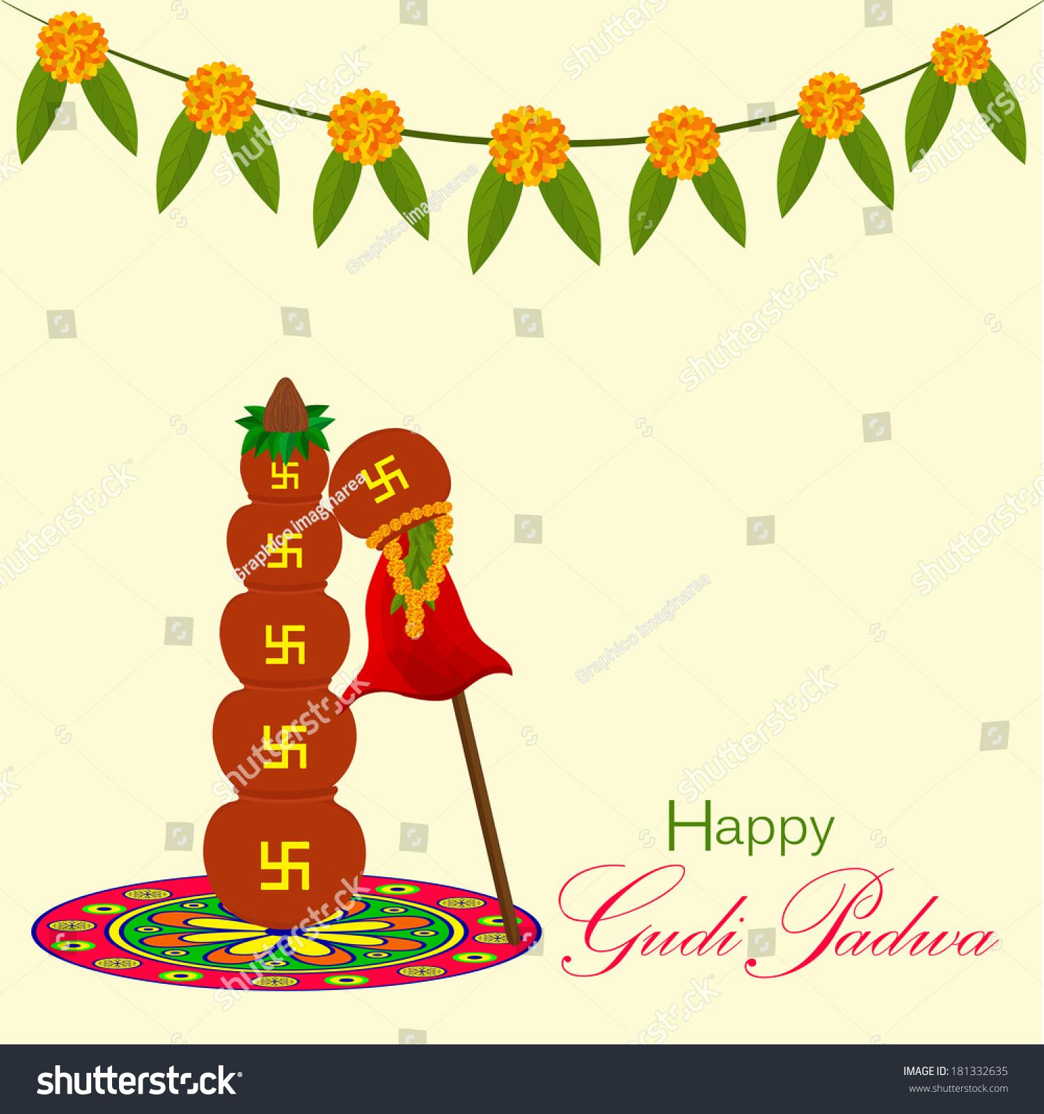 Gudi Padwa Indian Lunar New Years Stock Vector 181332635 Shutterstock