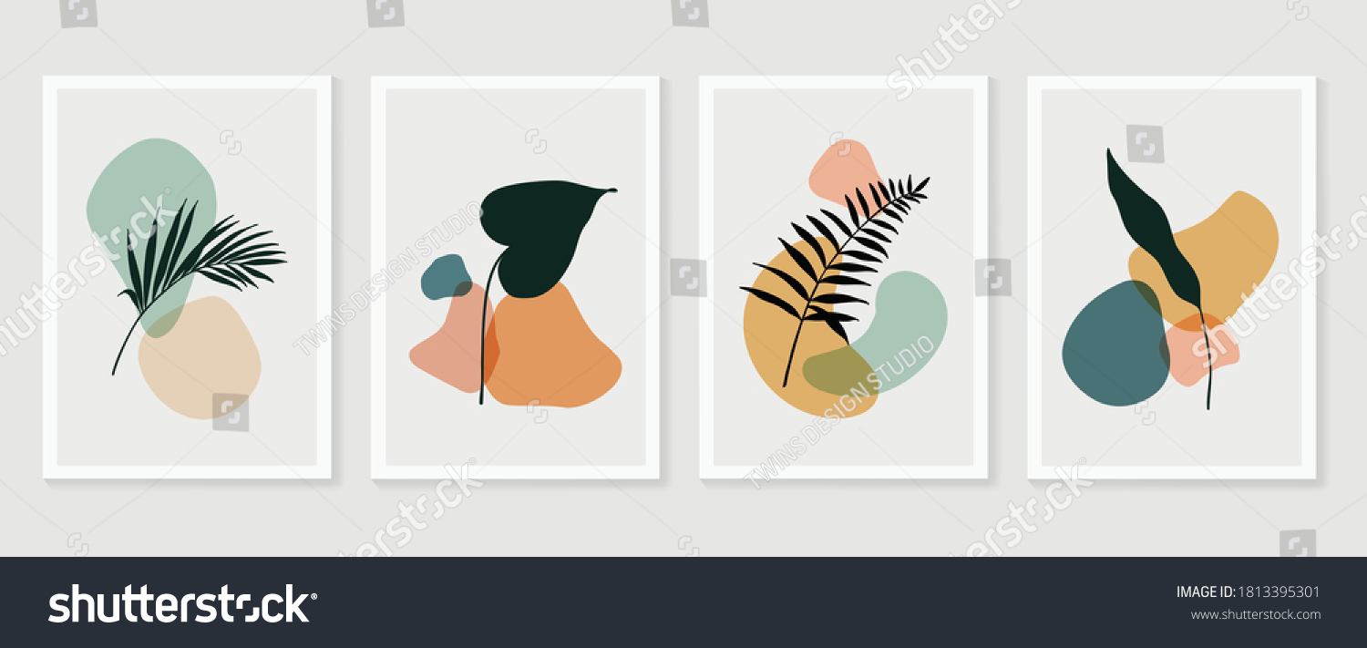 Botanical wall art vector set. Foliage line art drawing with abstract shape.  Abstract Plant Art design for print, cover, wallpaper, Minimal and  natural wall art. Vector illustration. #1813395301
