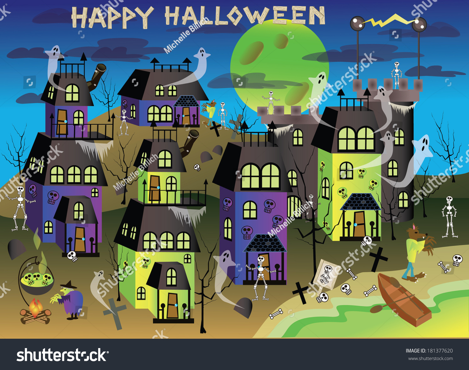 royalty-free spooky halloween town with green lakes… #181377620