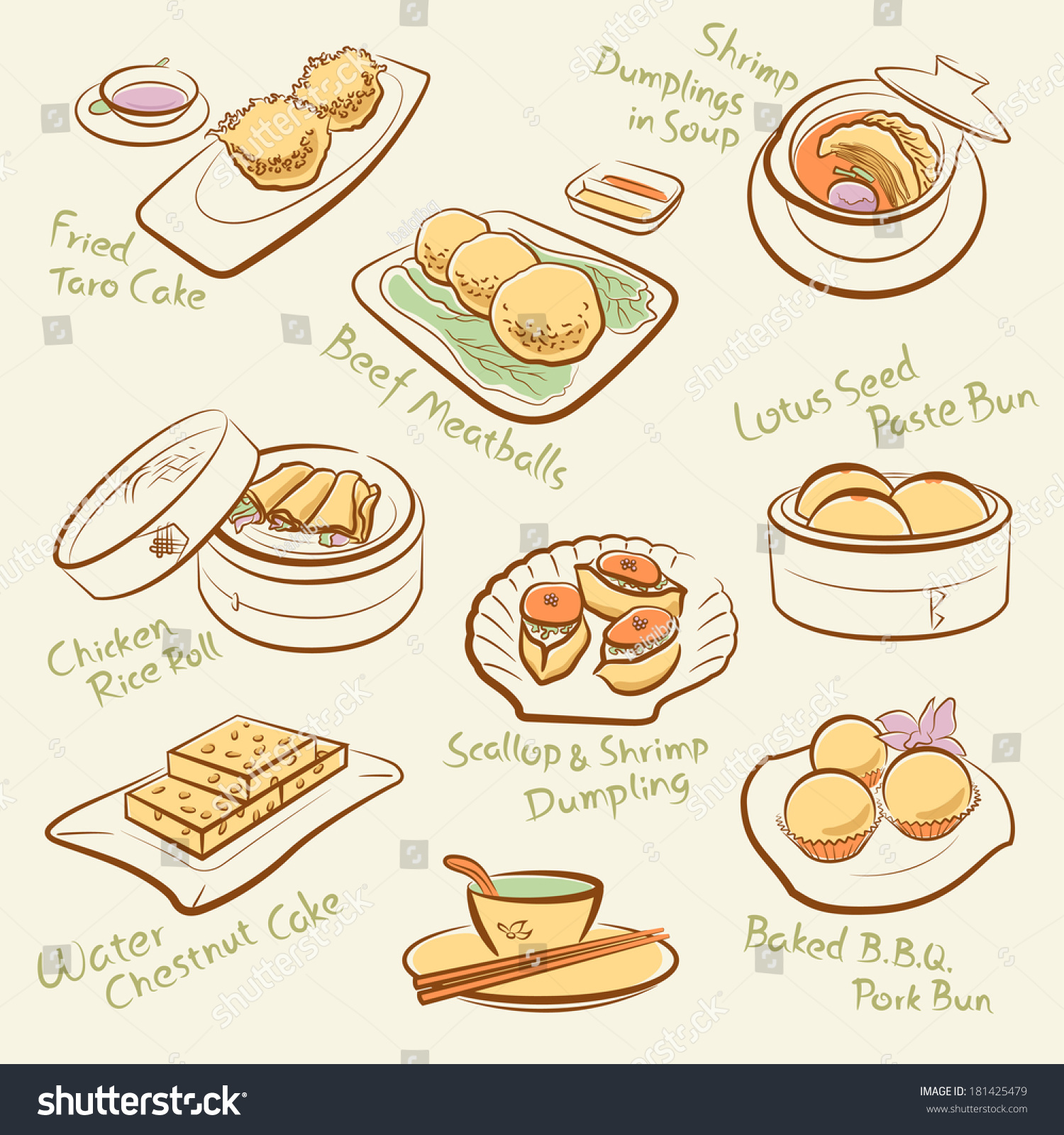 Line Drawing Food : Set of chinese food line drawing cantonese cuisine