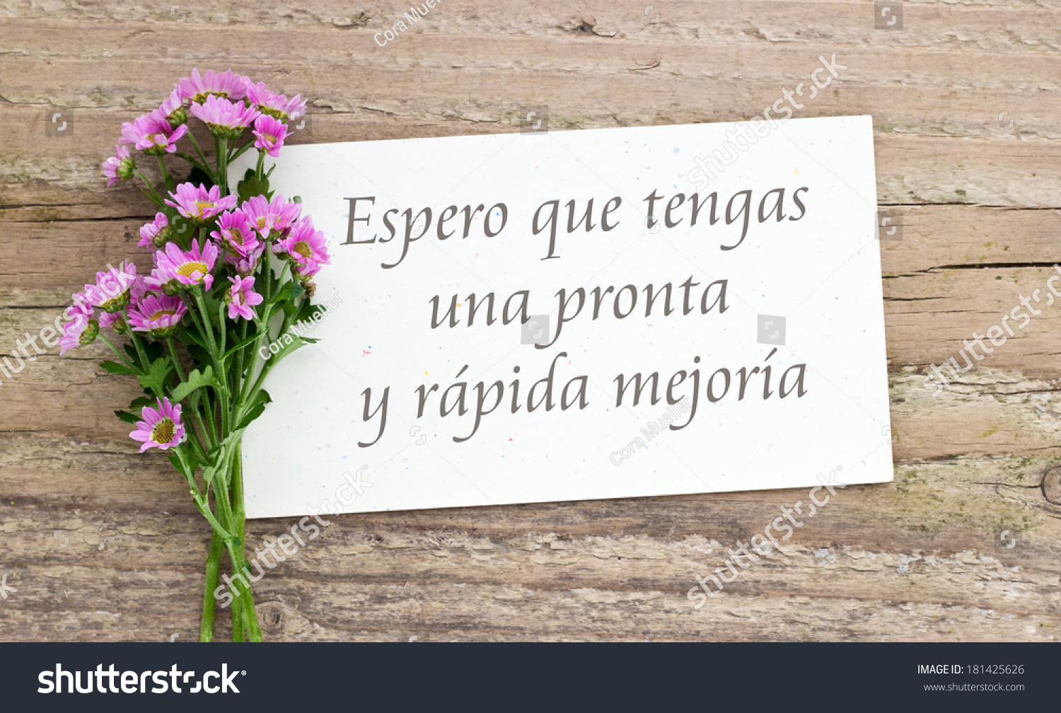 Pink Mum On Wooden Board Card I Stock Photo Royalty Free 181425626