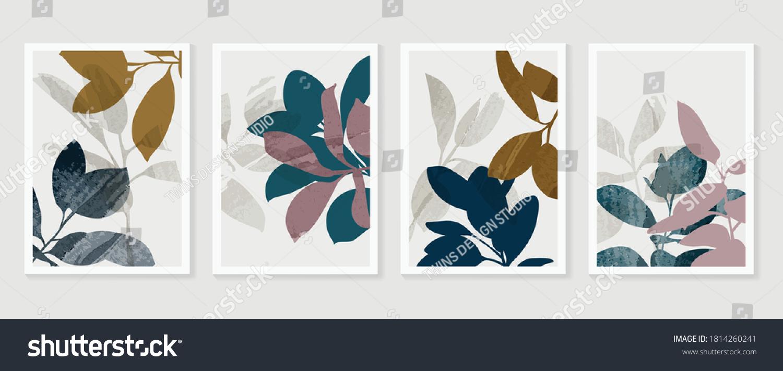 Botanical Wall Art Vector Set Foliage Stock Vector Royalty Free 1814260241