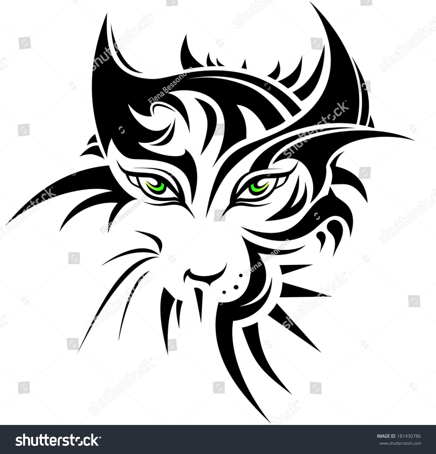 Abstract Tiger Tattoo Style Stock Vector 181430786