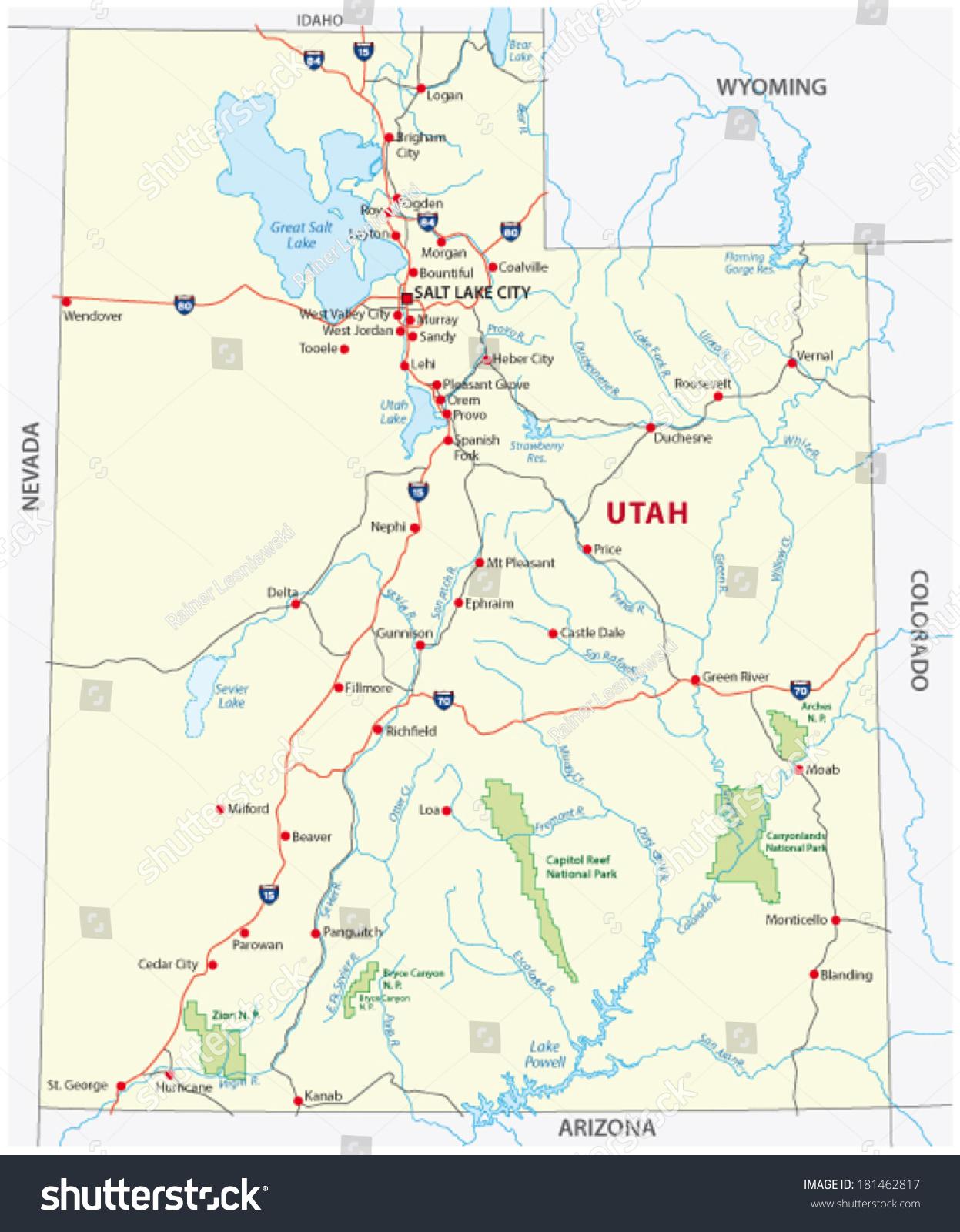 utah national park map. utah national park map stock vector   shutterstock