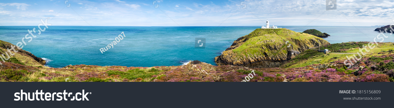 Mountain green hill sea panoramic landscape. Coastline sea panoramic landscape. Sea coastline panorama. Panorama of sea coastline #1815156809
