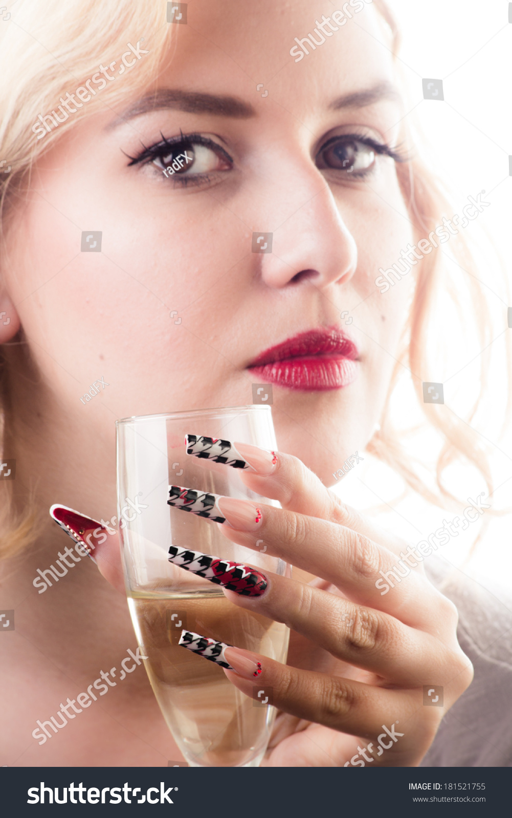 Beauty Girl Sensual Red Lips Long Stock Photo (Safe to Use ...