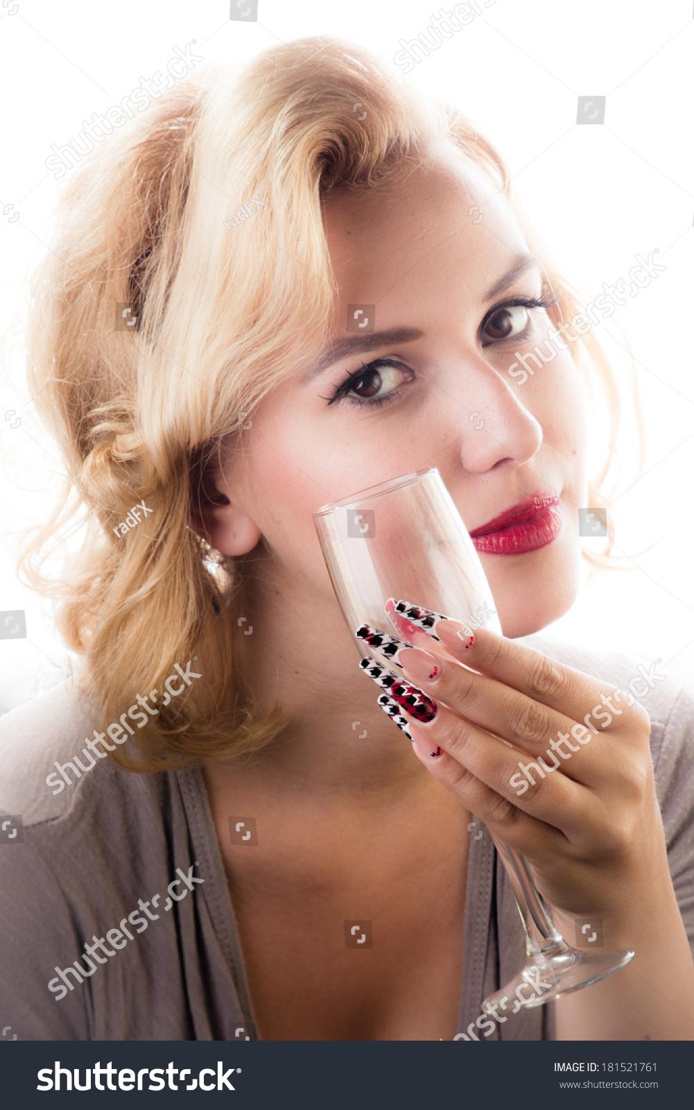 Beauty Girl Sensual Red Lips Long Stock Photo 181521761 - Shutterstock