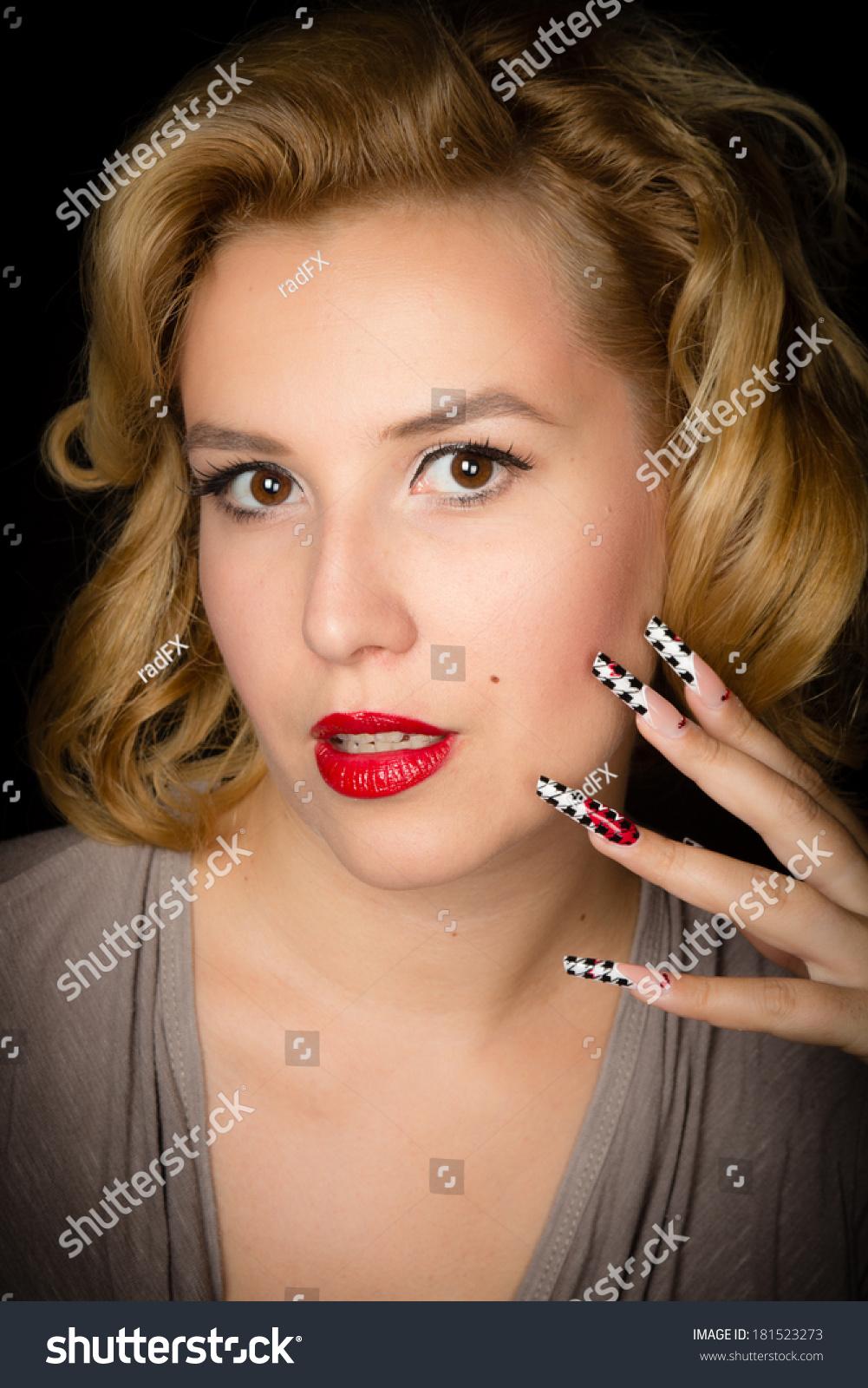Pretty Blond Girl Model Like Marilyn Stock Photo (Royalty Free ...