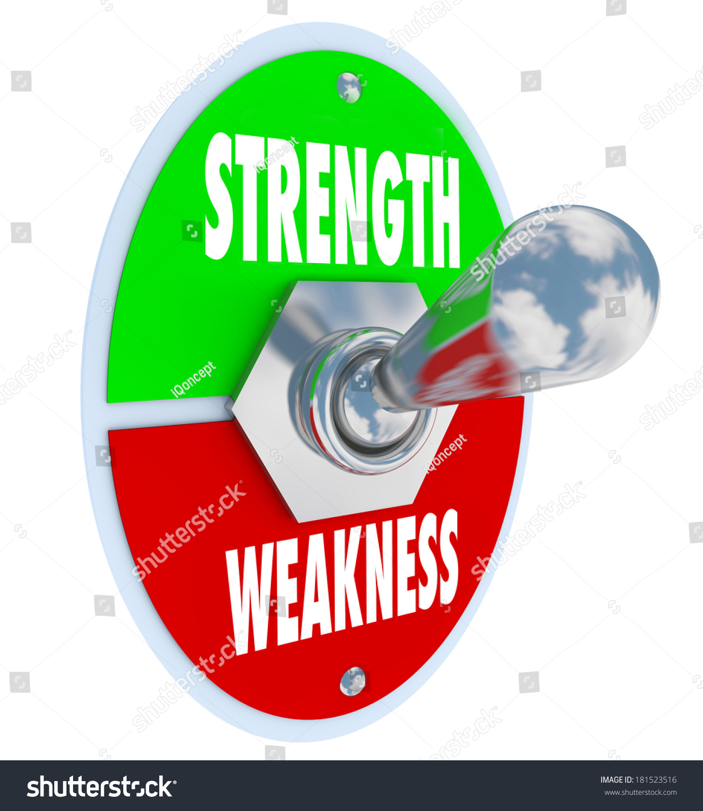 strength vs weakness words on a toggle switch button or lever to save to a lightbox
