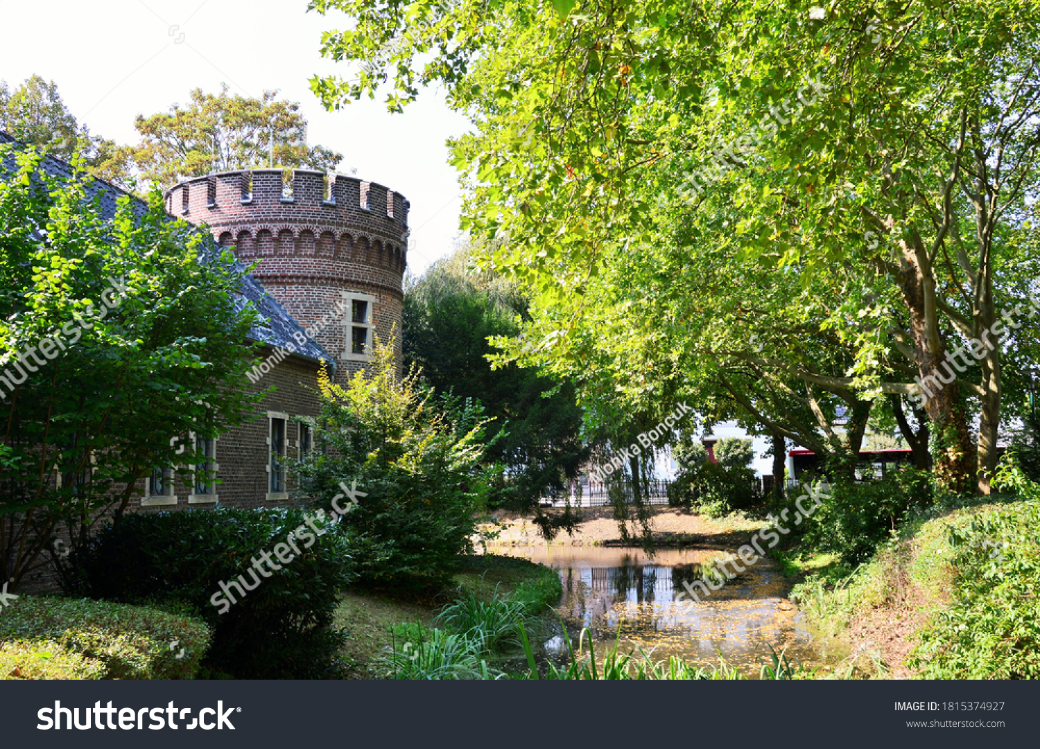 Neersen,Germany,September 2020, a tower and park of the castle