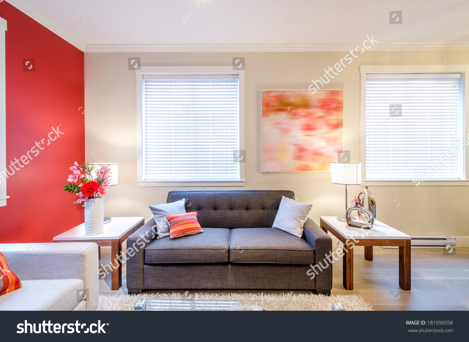 Modern red living room interior design stock photo for Modern living room red