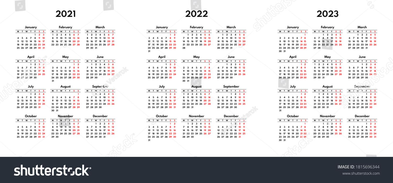 Uh Calendar 2022.Simple 2021 2022 2023 English Calendar Stock Vector Royalty Free 1815696344