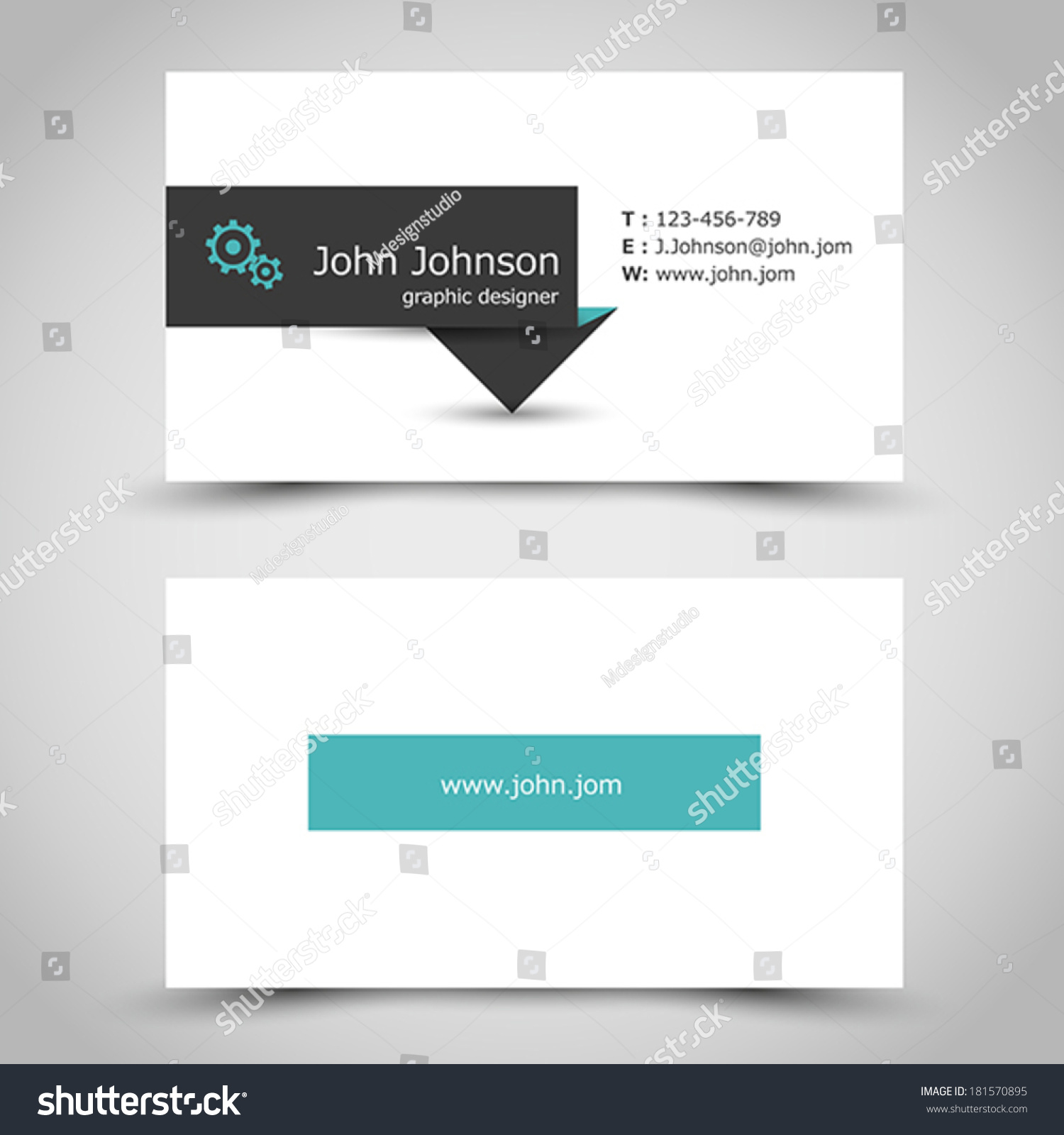 Turquoise Business Card Dark Sticker Office Stock Vector 181570895 ...