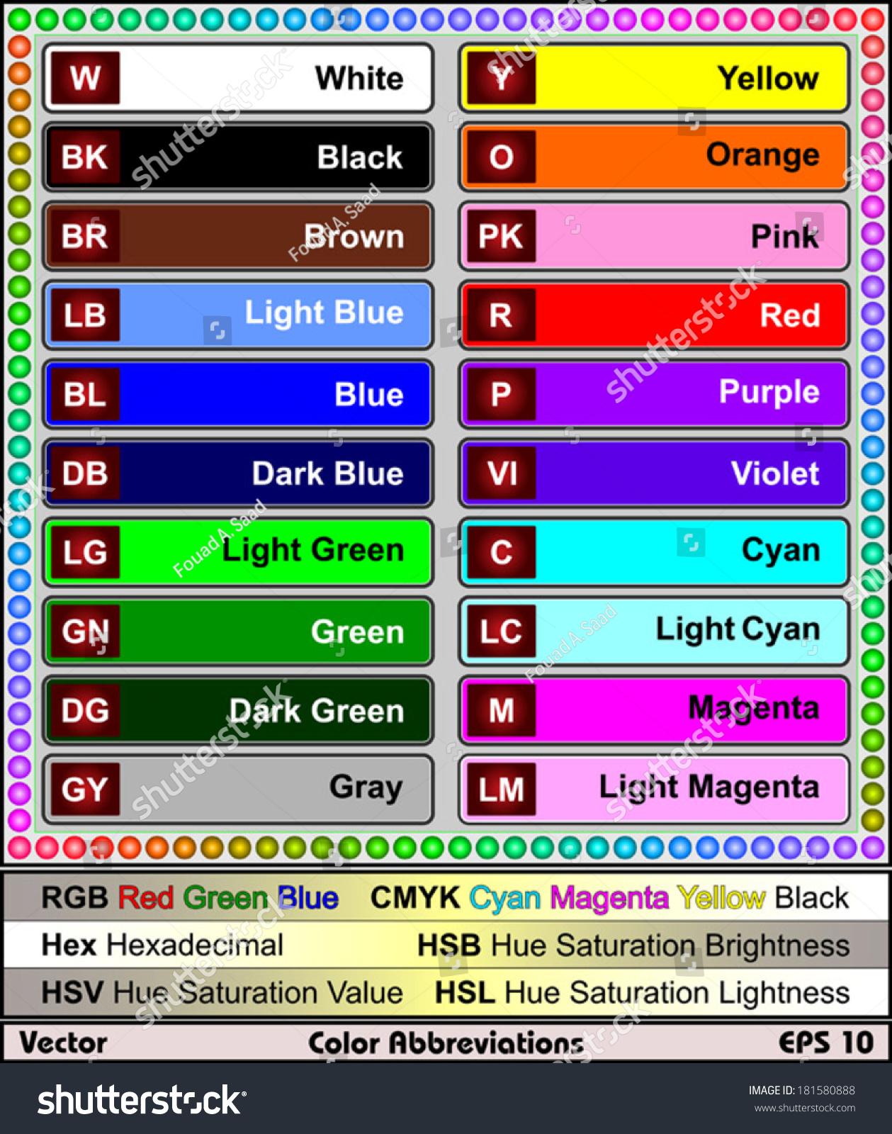 Color Abbreviations Stock Vector 181580888