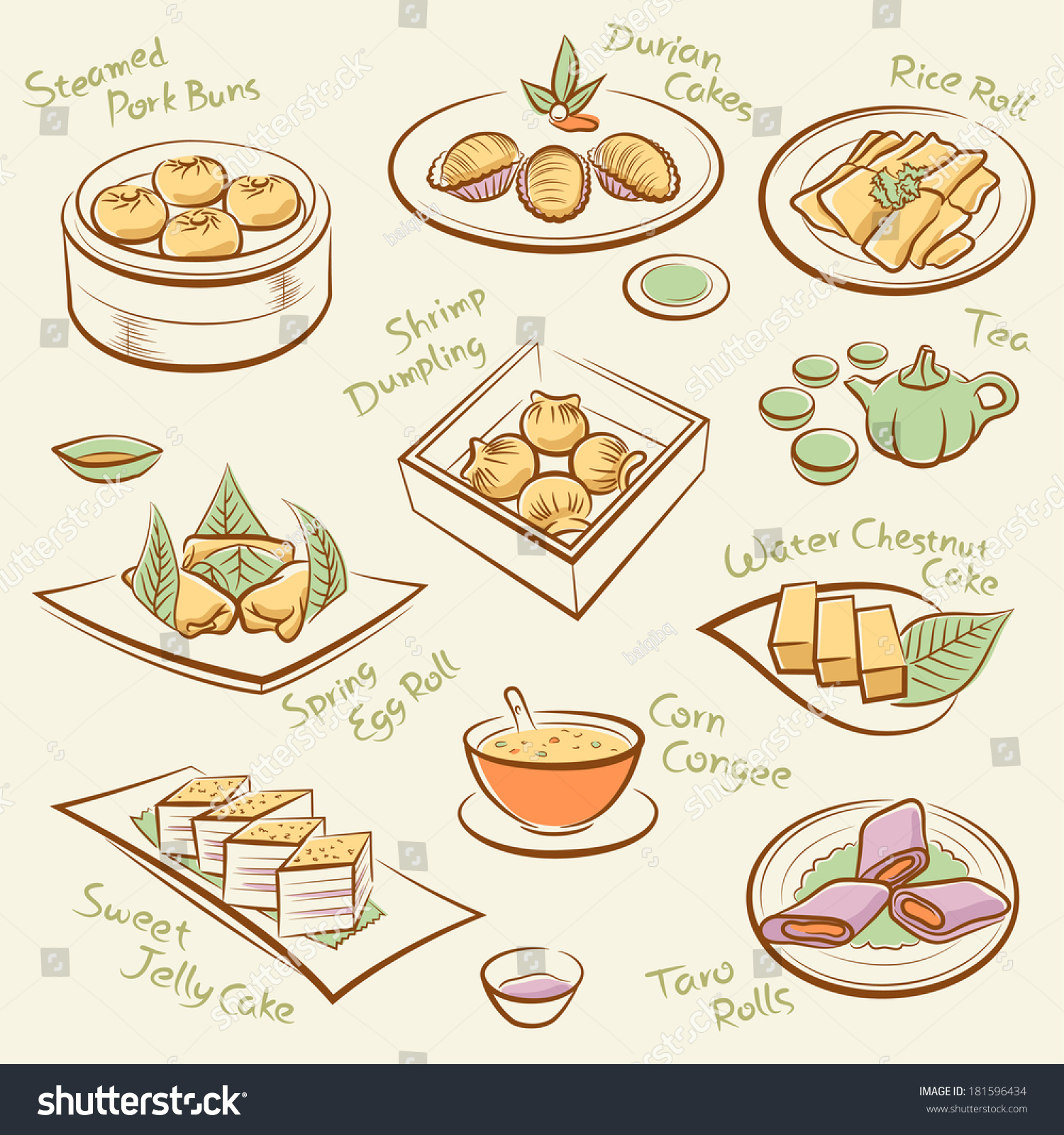 set chinese food line drawing cantonese stock vector