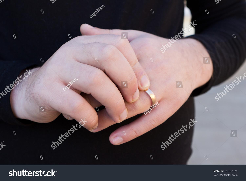 Confusing Man Rotating Wedding Ring Around Stock Photo (Edit Now ...