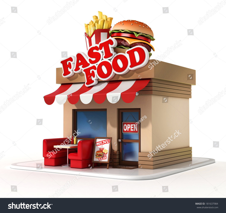 Fast food restaurant 3d illustration stock illustration for What fast food restaurants are open near me