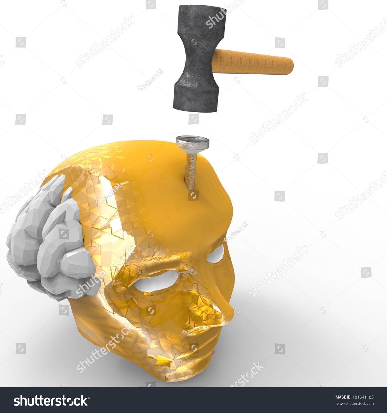 Hitting Nail On Head Splitting Headache Stock Illustration 181641185 ...