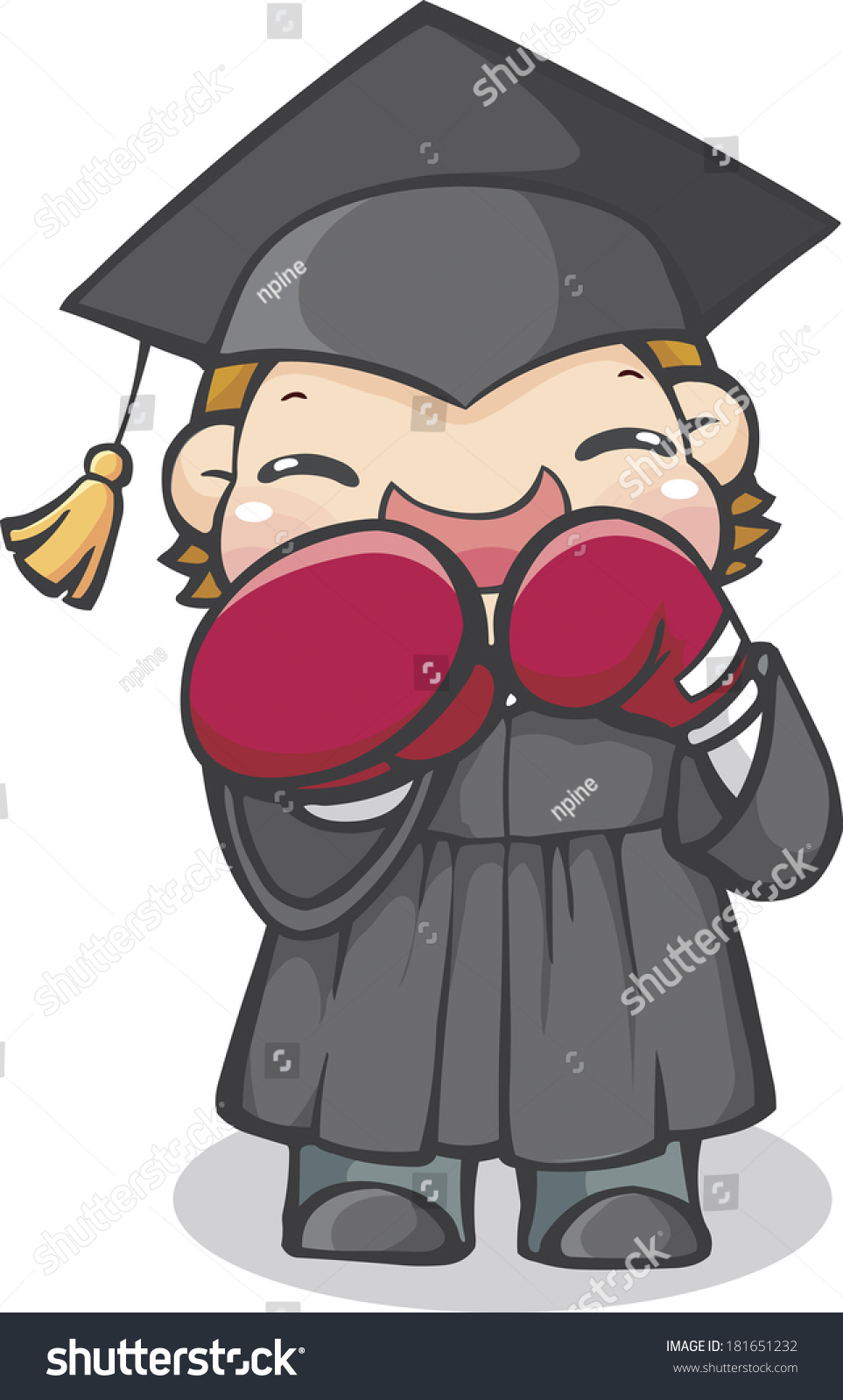 Boy Wearing Graduation Cap Gown Boxing Stock Illustration 181651232 ...
