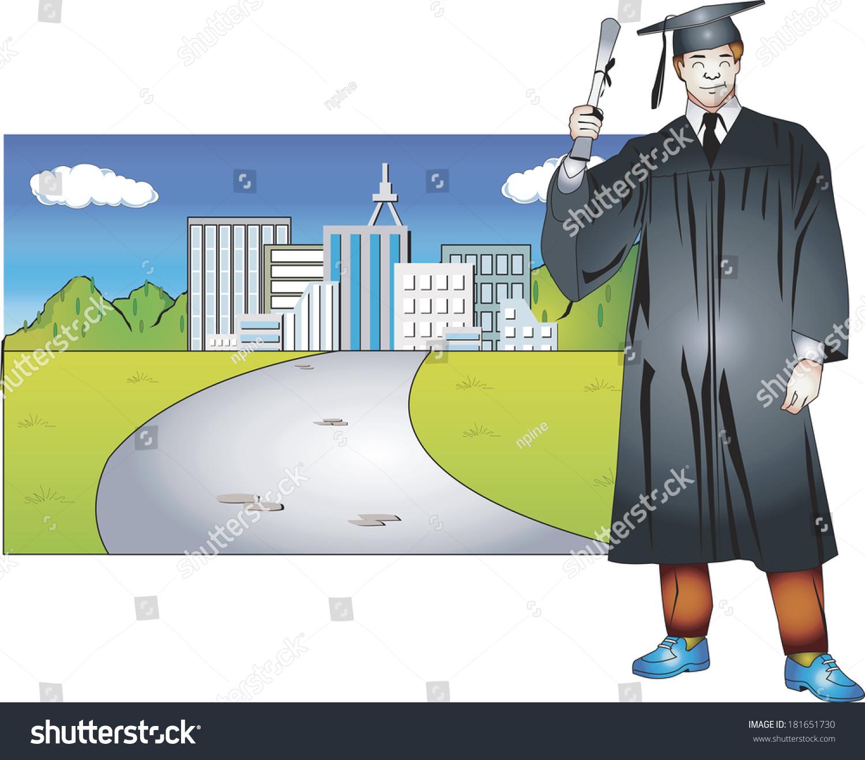 Man Graduation Cap Gown Smiling Stock Illustration 181651730 ...