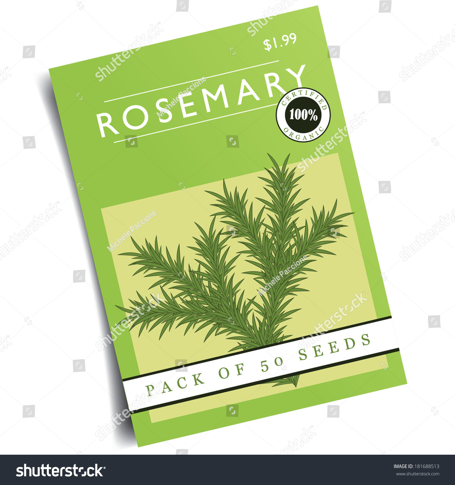 rosemary seed packet eps 10 vector stock vector