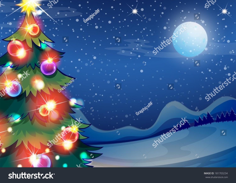 illustration christmas tree bright balls stock vector 181703234