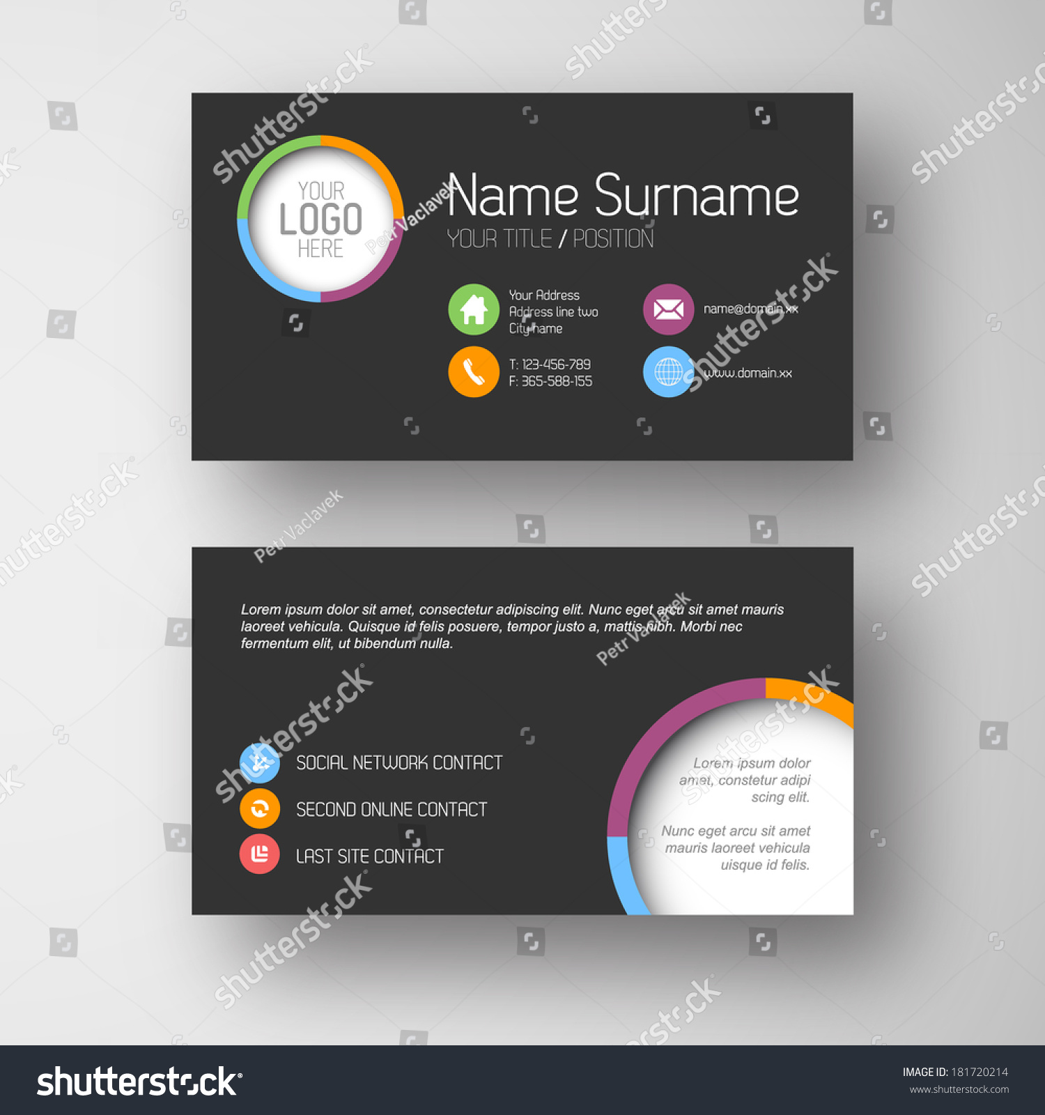 Modern simple dark business card template stock vector 181720214 modern simple dark business card template with some placeholder magicingreecefo Image collections