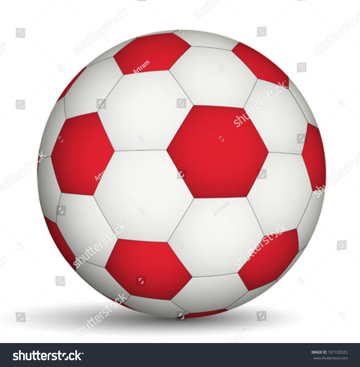 Football Ball Red White Color Stock Vector (Royalty Free) 181720325 ...
