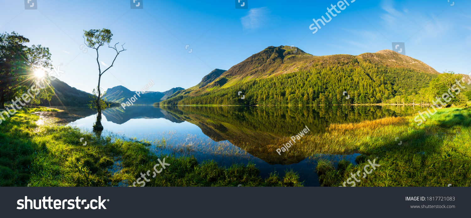 Sunrise panorama of Buttermere lake in the Lake District. England #1817721083