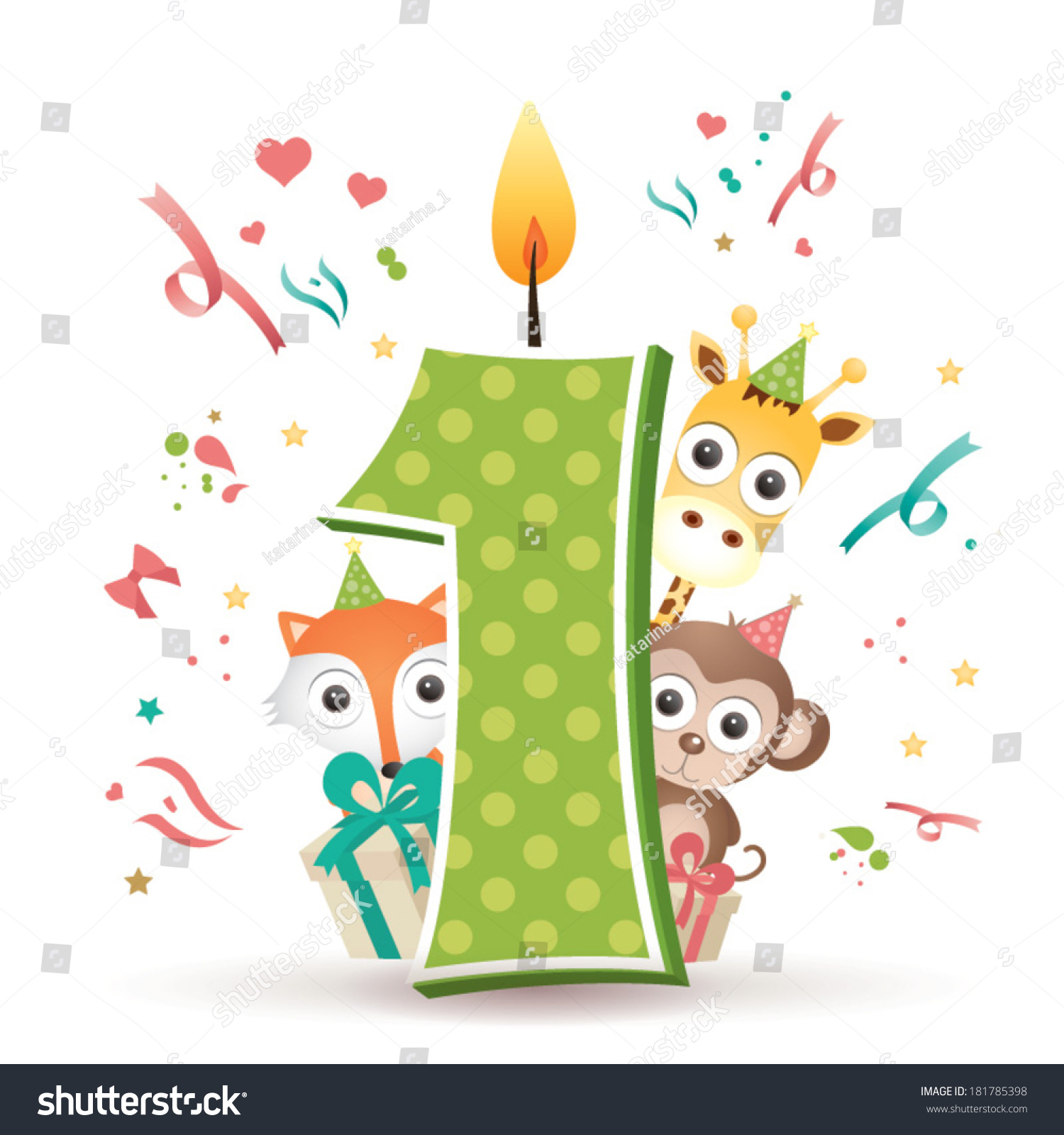 First Birthday Candle With Animals Stock Photo