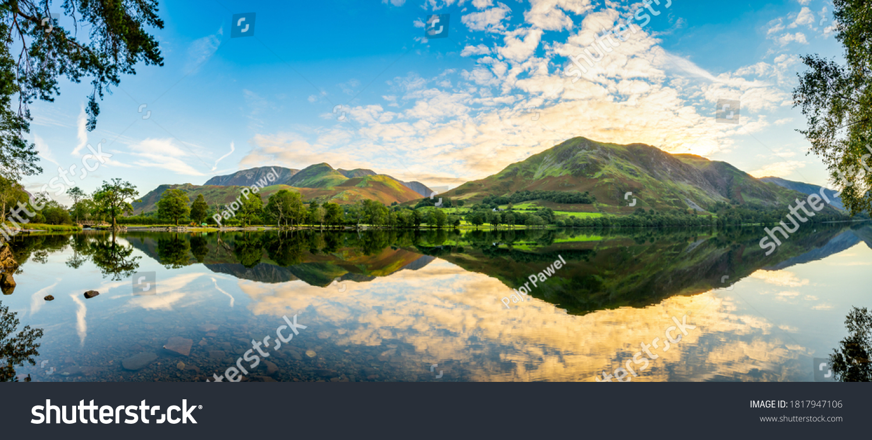 Buttermere lake panorama at sunrise. Lake District. England #1817947106