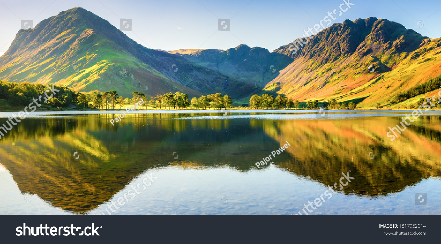 Beautiful morning panorama   of Buttermere lake in the Lake District. England #1817952914