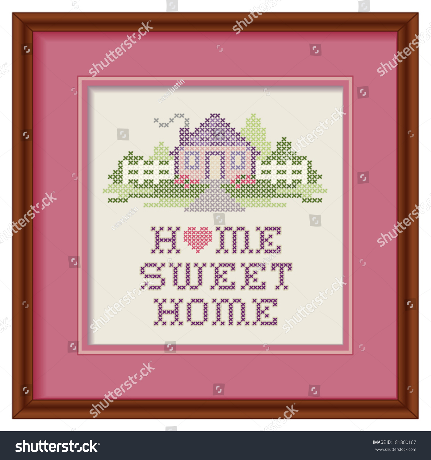 Home Sweet Home Embroidery Cross Stitch Stock Vector (Royalty Free ...