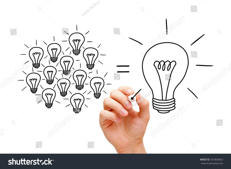 手绘团队灯泡用黑色标记的概念 很多小想法相同 商业 金融,人物 海洛创意 HelloRF Shutterstock中国独家合作伙伴 正版素材在线交易平台 站酷旗下品牌