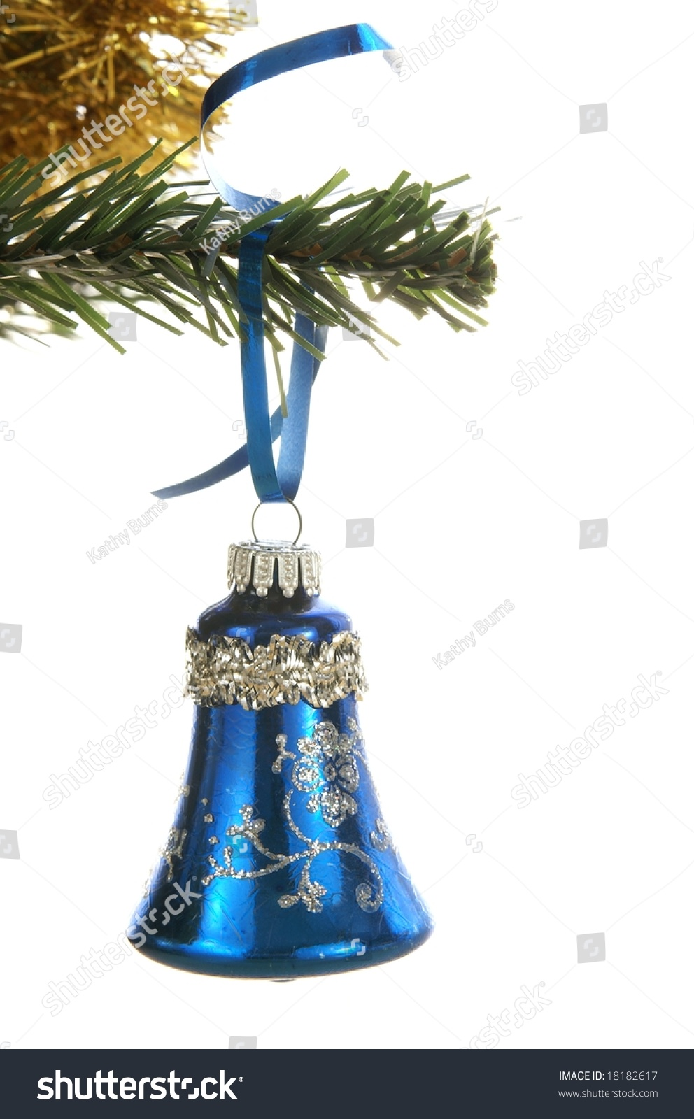 Blue Christmas Bell Ornament Hanging Tree Stock Photo (Edit Now ...