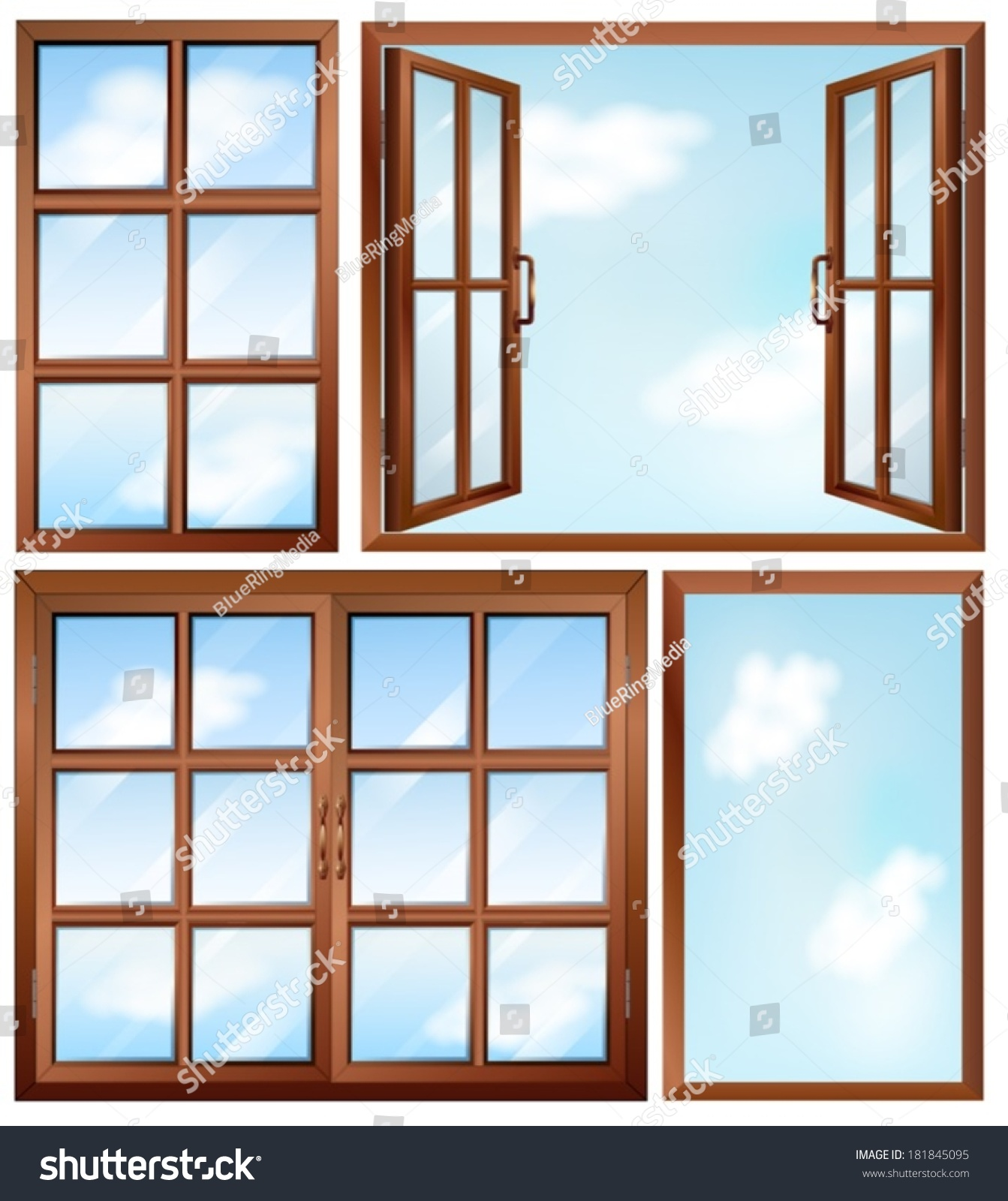 Illustration of the different window designs on a white for Window design 4 6