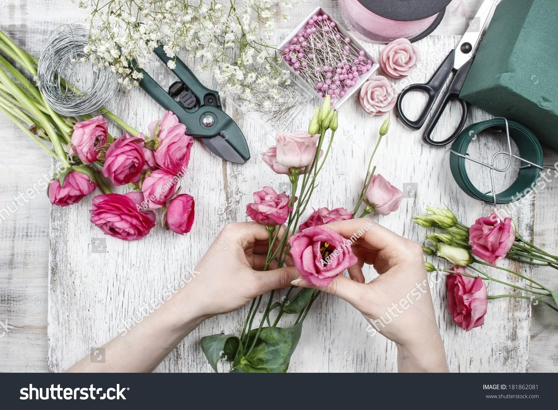 Florist at work woman making beautiful bouquet of pink eustoma id 181862081 izmirmasajfo