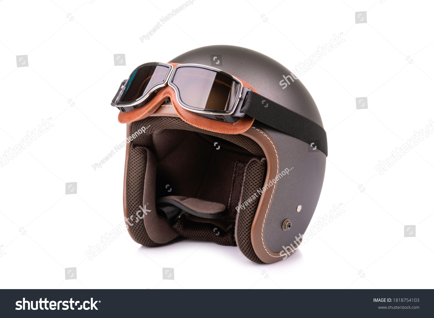 Close up new grey vintage helmet and wind goggle. Studio shot isolated on white background #1818754103