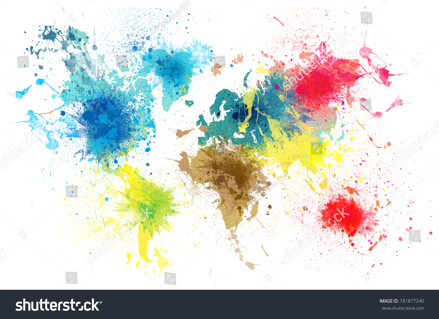 World map paint splashes stock illustration 181877240 shutterstock world map with paint splashes gumiabroncs Image collections