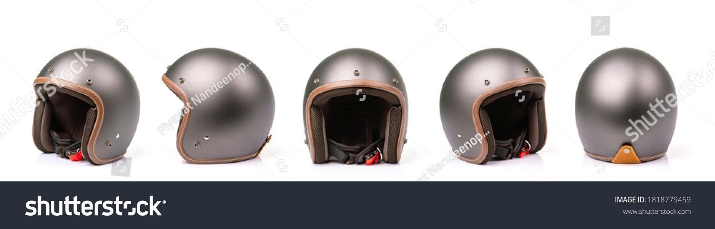 Close up set of new grey vintage helmet. Studio shot isolated on white background #1818779459